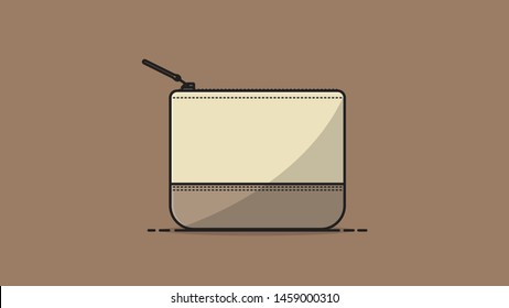 Brown Pouch flat design vector illustration