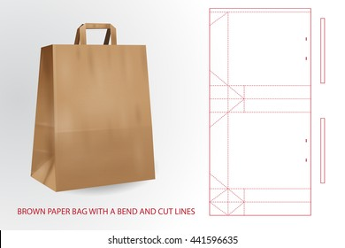 Brown realistic paper bag with a bend and cut lines.