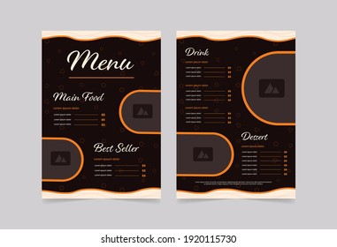brown restaurant food menu layout design template