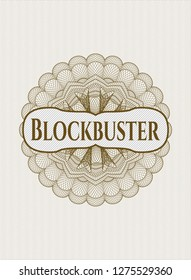 Brown rosette (money style emblem) with text Blockbuster inside
