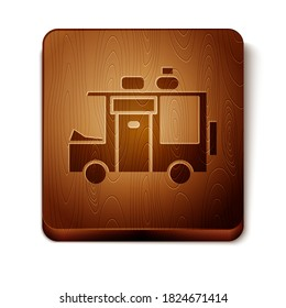Brown Rv Camping trailer icon isolated on white background. Travel mobile home, caravan, home camper for travel. Wooden square button. Vector Illustration