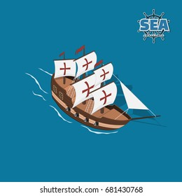 Brown sailer on a blue background. Sailboat in isometric style. 3d illustration of ancient ship. Pirate game. Vector illustration