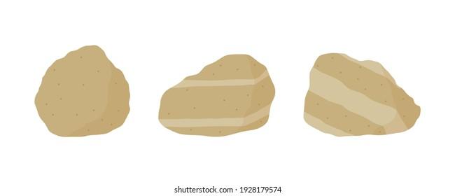 Brown sandstone specimen illustration. Sedimentary rock samples set.