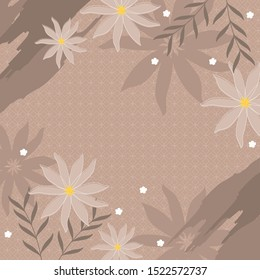 brown scarf pattern with ornament background and flower design