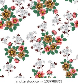 brown seamless floral flowers with leaves pattern