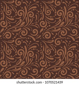 Brown seamless ornamental pattern for design. Vector