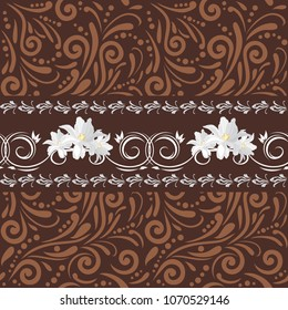 Brown seamless ornamental pattern with white flowers for design. Vector