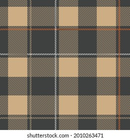 Brown Seamless plaid pattern and texture vector graphic design and Tartan check plaid in dark grey, beige, and white for flannel shirt or other modern textile design for CLOTHES and FASHION.eps