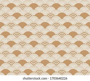 Brown seigaiha luxurious Japanese wave pattern.