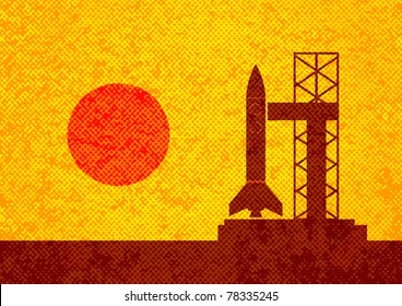 Brown silhouette of rocket