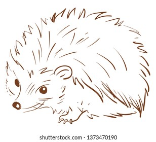 A brown sketch of a hedgehog animal with spines all over its circular-shaped body lies on the ground vector color drawing or illustration