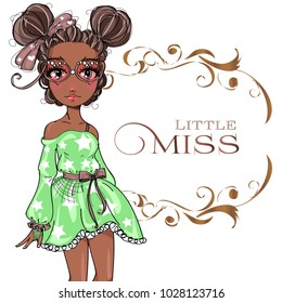 Brown skin tone cute fashion teen girl wearing green dress, little miss fashion girl with floral frame, cartoon character comics girl portrait, young woman vector illustration art