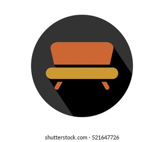 brown sofa furnishing furniture household home image vector icon