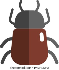 Brown stink bug, icon illustration, vector on white background