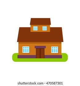 Brown Suburban House Exterior Design With Attic Storey