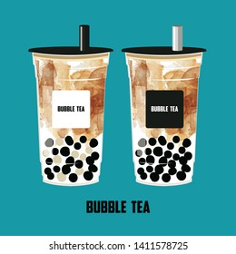 The Brown Sugar Bubble Tea, Pearl brown sugar milk tea, black pearls is Taiwanese famous and popular drink large size and small cup vector.