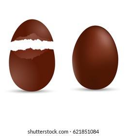 Brown sweet chocolate egg. Broken egg. Vector.