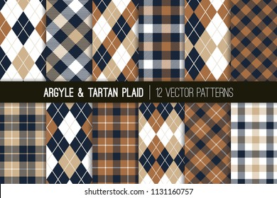 Brown, Tan and Navy Blue Argyle and Tartan Plaid Vector Patterns. Hipster Fall Fashion Prints. Father's Day Backgrounds. Shades of Brown and Beige. Repeating Tile Swatches Included.