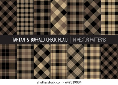 Brown Tartan and Buffalo Check Plaid Vector Patterns. Hipster Lumberjack Flannel Shirt Fabric Textures. Men's Fall or Winter Fashion. Father's Day Background. Pattern Tile Swatches Included.