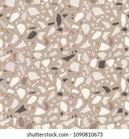 Brown terrazzo seamless texture. Floor tile, polished stone pattern. Marble surface. Vector abstract background with chaotic stains.