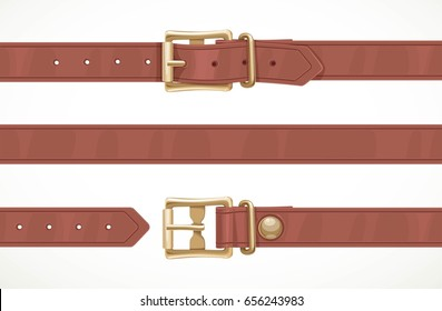 Brown thin leather belt buttoned, unbuttoned and seamless middle part isolated on white background