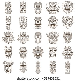 Brown Tiki Head Line Art Set