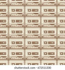 Brown transparent cassette pattern on light background.