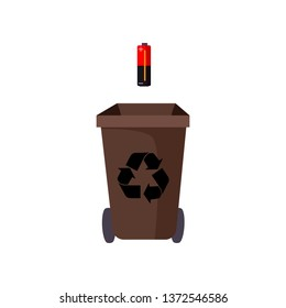 Brown trashcan and battery. Refuse container with recycling sign and wheels.