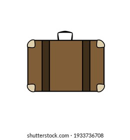 Brown travel suitcase in cartoon style on white background.