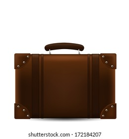 Brown Travel Suitcase. Vector Illustration