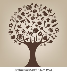 Brown Tree Made Of Products And Subjects Of Restaurant Icons, Vector Illustration