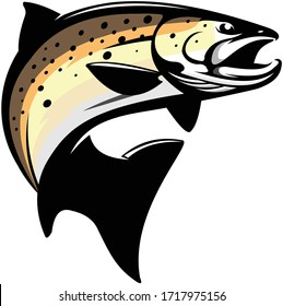 Brown Trout Logo, A Unique Clean & Eye Catching Vector of Brown Trout fish Jumping Out of the Water. Great Vector to Use for Decals, Logo, Shirts,  Etc, to make your fishing Activity look Cool.