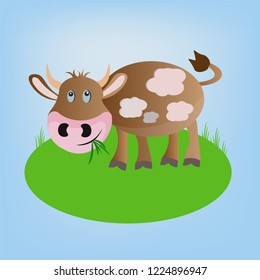 brown vector cartoon cheerful cow animal standing on the field and eating green grass