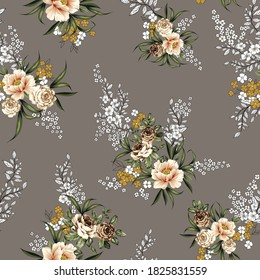 brown vector flowers with leaves pattern on grey background