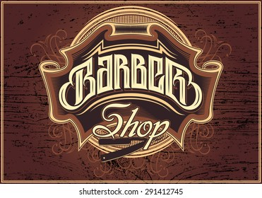 brown vector sign for a barber shop