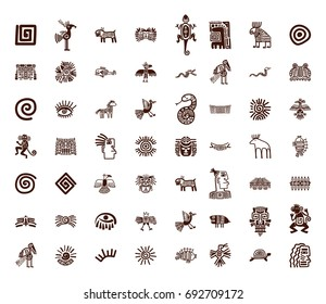 Brown vector tribal symbols set on white background