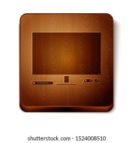 Brown Video game console icon isolated on white background. Game console with joystick and lcd television. Wooden square button. Vector Illustration