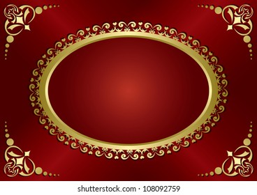 brown vintage card with gold frame - vector