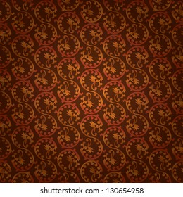 Brown vintage floral seamless pattern. Vector background
