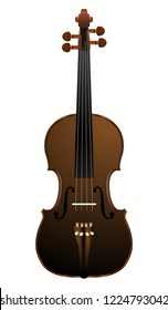 brown violin on white background