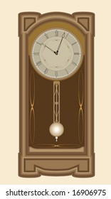 Brown wall clock with pendulum