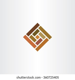 brown wall tile square logo vector icon stone