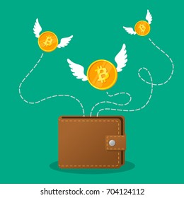 Brown wallet with bitcoin cash. Concept for business, print, web sites, magazines, online shop, finance, banks. Coins bitcoin with wings flying over purse. Lost money concept. Vector illustration