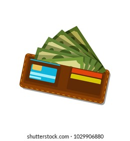 Brown wallet with green dollars and plastic credit cards. Paper money. American currency. Concept of financial well-being. Flat vector design for mobile app
