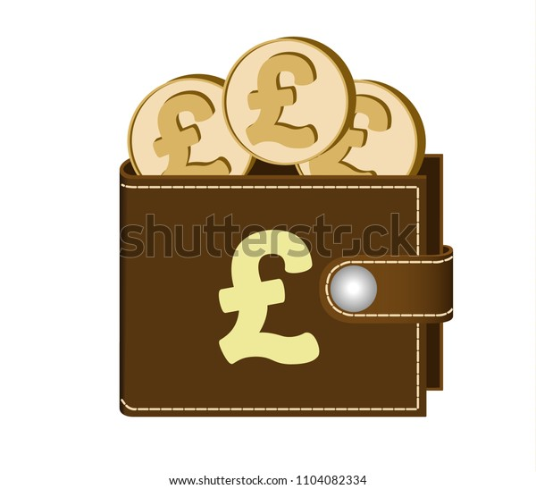 brown  wallet with pound sterling coins on a white background,currency in the wallet,sign and symbol currency in the form of coins, concept  ,sign pound sterling on the face of the wallet