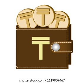 brown  wallet with tenge coins on a white background , currency in the wallet,sign and symbol currency in the form of coins,design concept color  ,sign tenge on the face of the wallet
