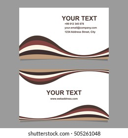 Brown wave design business card template set