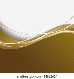 Brown and white background with gold wave.