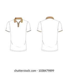 Brown and white polo T-shirt template using for fashion cloth design and assessorie for designer to make mock up or blue print in copany.