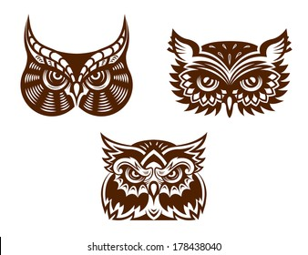 Brown and white wise old owl faces logo with decorative feather detail for tattoo or mascot design